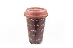 陶瓷咖啡杯胶盒盖 免版税库存照片