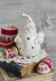 陶瓷圣诞老人,圣诞节装饰 库存图片