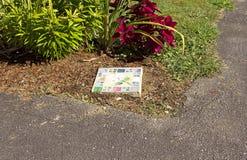 陶瓷垫脚石在草坪 库存图片