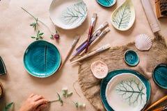 陶瓷技师空白工作场所绘的 创造性的讨论会 免版税图库摄影