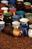 陶瓷收集杯子 免版税库存照片
