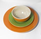 陶瓷板材和碗有螺旋样式的 图库摄影