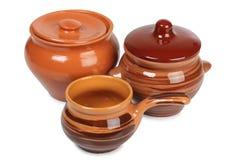 陶瓷棕色罐 图库摄影