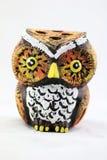陶瓷猫头鹰铅笔持有人 库存照片