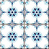 陶瓷砖样式316典雅的蓝色圆的发怒花 免版税库存图片