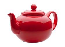 陶瓷红色茶壶 免版税库存图片