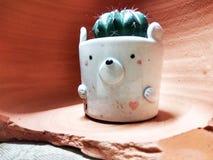 陶瓷罐的仙人掌植物 免版税图库摄影