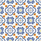 陶瓷蓝色和白色地中海无缝的瓦片样式 向量例证