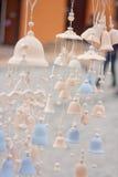 陶瓷被烧的响铃许多部分  库存图片