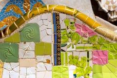 陶瓷长凳公园Guell -巴塞罗那西班牙 库存照片