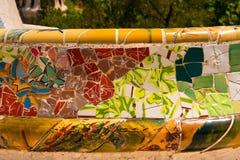 陶瓷长凳公园Guell -巴塞罗那西班牙 免版税库存图片