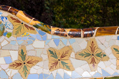 陶瓷长凳公园Guell -巴塞罗那西班牙 免版税图库摄影