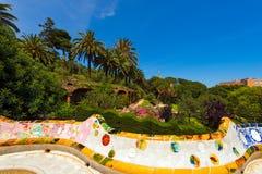 陶瓷长凳公园Guell -巴塞罗那西班牙 免版税库存照片