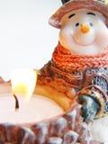 陶瓷雪人蜡烛 免版税库存图片