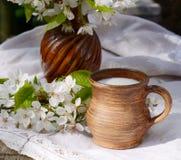 陶瓷水罐用在一个地道亚麻制桌布和开花的樱桃分支的新鲜的新的牛奶 Sprng早晨静物画 免版税库存照片
