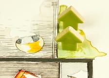 陶瓷绿色箭头在手边被画的游廊剪影 库存图片