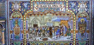 陶瓷azulejos在Plaza de西班牙,塞维利亚,安大路西亚,西班牙 库存照片