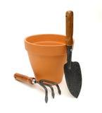 陶砖罐土地工具 免版税库存图片