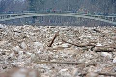 陷进的冰在残暴的人河在残暴的人, Latvija城市 库存照片