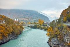 隆河惊人的秋天风景,沃州,瑞士小行政区  免版税图库摄影