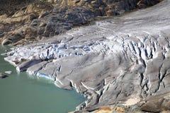 隆河的冰川 免版税库存图片