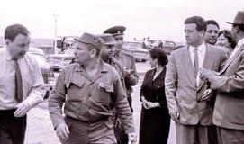 伴随菲德尔・卡斯特罗1963年5月的人 图库摄影