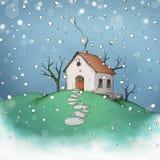 随风飘飞的雪的小屋 库存例证
