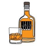 隐喻醺酒的人在酒瓶监狱有glas的 皇族释放例证