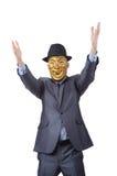 隐瞒他的身分屏蔽的生意人 图库摄影