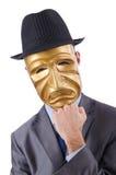 隐瞒他的身分屏蔽的生意人 免版税图库摄影