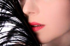 隐藏可爱的妇女的表面 免版税图库摄影