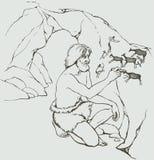 隐藏的搜索迷宫照片蛇向量 原始人在洞石墙上画  免版税库存图片