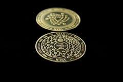 隐藏货币数字硬币- iota前面和后面 免版税库存图片