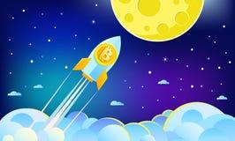 隐藏货币的概念 飞行到与bitcoin象的月亮的火箭队 免版税图库摄影