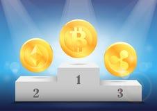 隐藏货币的规定值 授予真正硬币:bitcoin, ethereum,波纹 免版税库存图片