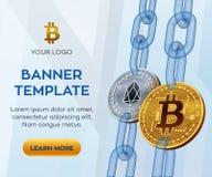 隐藏货币编辑可能的横幅模板 Bitcoin EOS 3D等量物理位硬币 金黄Bitcoin和银色EOS硬币与 免版税库存图片