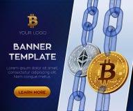 隐藏货币编辑可能的横幅模板 Bitcoin Ethereum 3D等量物理位硬币 金黄bitcoin和银Ethereum c 库存照片