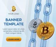 隐藏货币编辑可能的横幅模板 Bitcoin Ethereum 3D等量物理位硬币 金黄bitcoin和银Ethereum c 免版税库存图片
