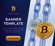 隐藏货币编辑可能的横幅模板 Bitcoin Nem 3D等量物理位硬币 金黄Bitcoin和银Nem铸造与 免版税图库摄影