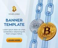 隐藏货币编辑可能的横幅模板 Bitcoin Nem 3D等量物理位硬币 金黄Bitcoin和银Nem铸造与 免版税库存图片
