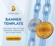 隐藏货币编辑可能的横幅模板 Cardano 3D等量物理位硬币 与wireframe的金黄和银色Cardano硬币 库存图片