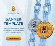 隐藏货币编辑可能的横幅模板 Ethereum 3D等量物理位硬币 与wirefram的金黄和银色Ethereum硬币 库存照片