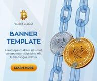 隐藏货币编辑可能的横幅模板 Iota 3D等量物理位硬币 金黄和银色Iota铸造与wireframe链子 免版税图库摄影