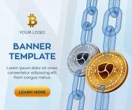 隐藏货币编辑可能的横幅模板 Nem 3D等量物理位硬币 金黄和银色Nem铸造与wireframe链子 B 图库摄影