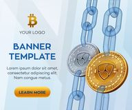 隐藏货币编辑可能的横幅模板 Nem 3D等量物理位硬币 金黄和银色Nem铸造与wireframe链子 B 库存图片