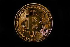 隐藏货币金子Bitcoin, BTC, Bitcoin宏观射击铸造o 库存照片