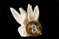 隐藏货币金子Bitcoin, BTC, Bitcoin宏观射击铸造w 图库摄影