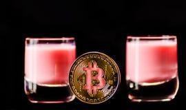 隐藏货币金子Bitcoin, BTC, Bitcoin宏观射击铸造w 库存照片