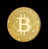 隐藏货币金黄bitcoin的面孔在黑背景的 免版税库存图片