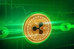 隐藏货币 块式链 波纹 3D与wireframe链子的等量物理金黄波纹硬币 Blockchain概念 编辑可能 库存照片